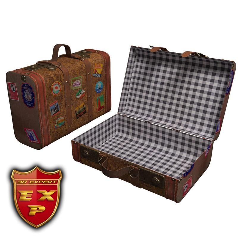 3d model old suitcase