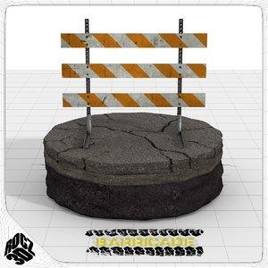 type iii construction barricade 3d model