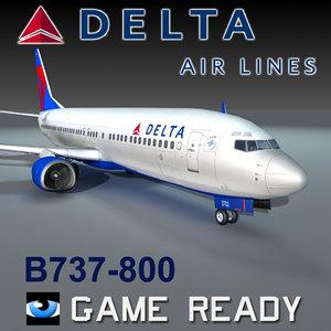 3d delta airlines b737-800 model