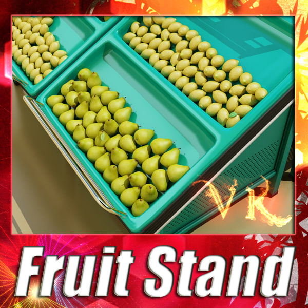 3d model fruit stand lemons pears
