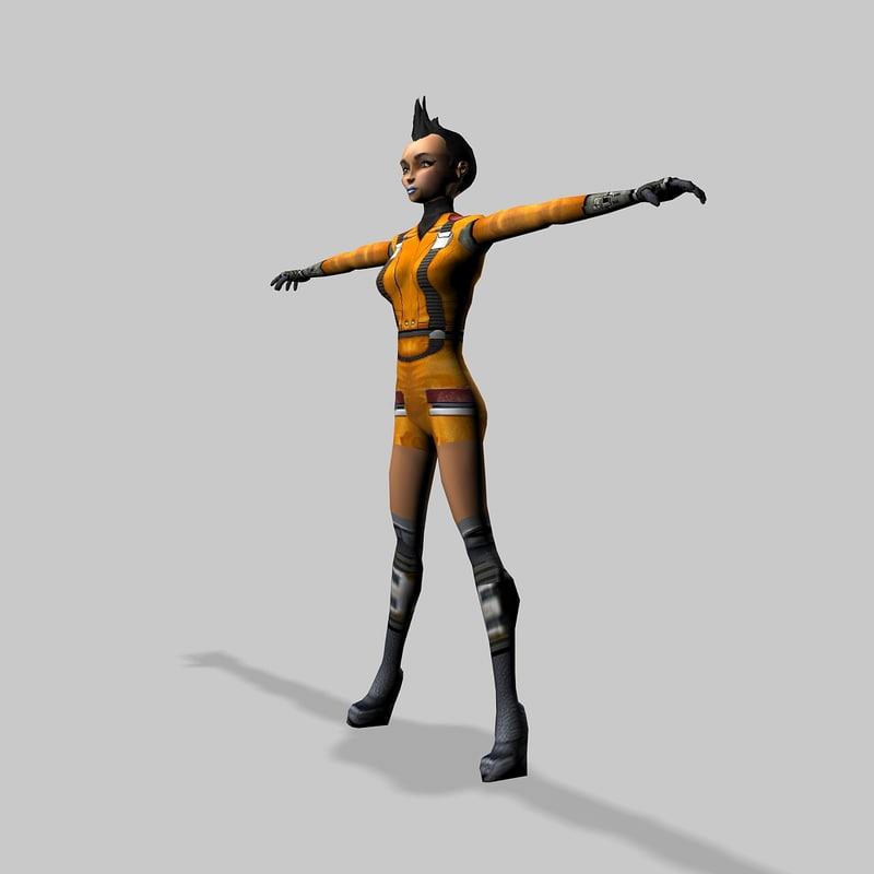 girl military 3d model