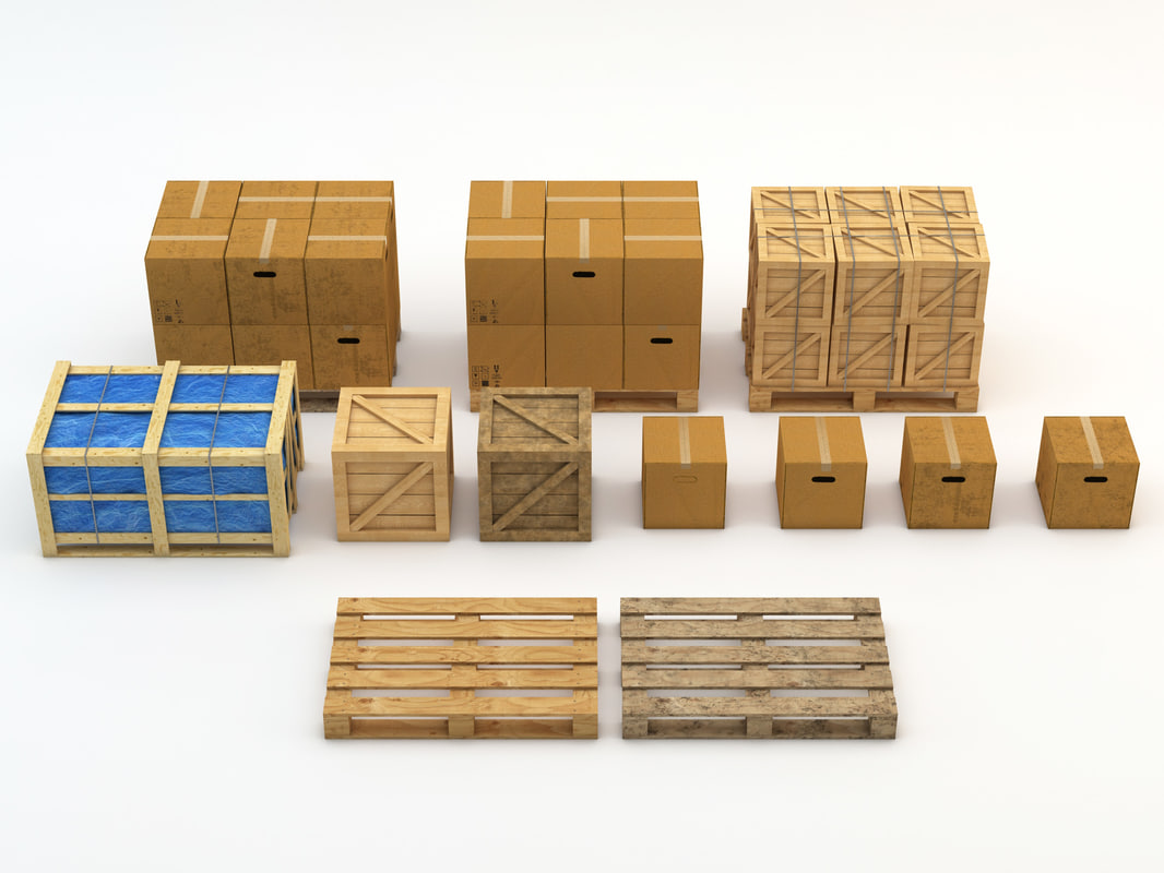 3d industrial crate box model