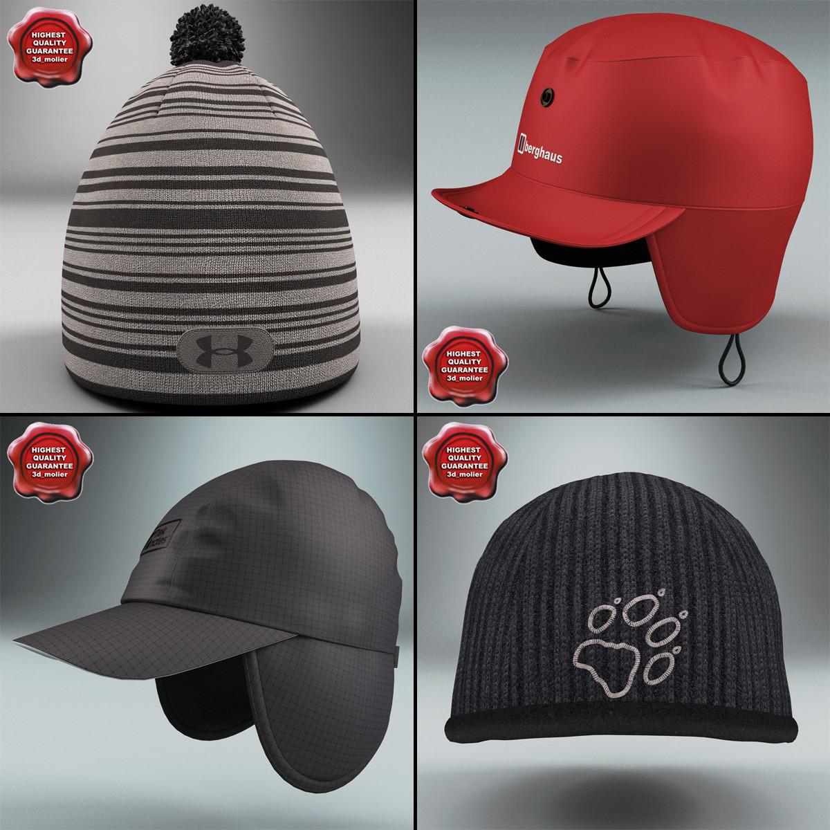 winter hats 3d model
