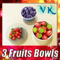 3d model 3 fruits resolution bowl