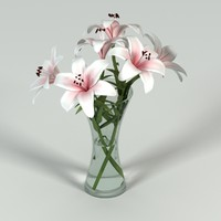 Lilys in Vase (hand Tied Curved)