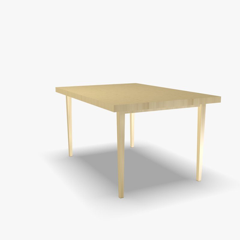 3d model scandinavian wooden table