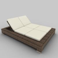 3d model rattan seat set 05