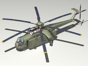 sikorsky ch-54b skycrane helicopter 3d model