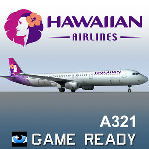 airbus a321 hawaiian airlines 3d max