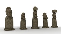 moai head 3d lwo
