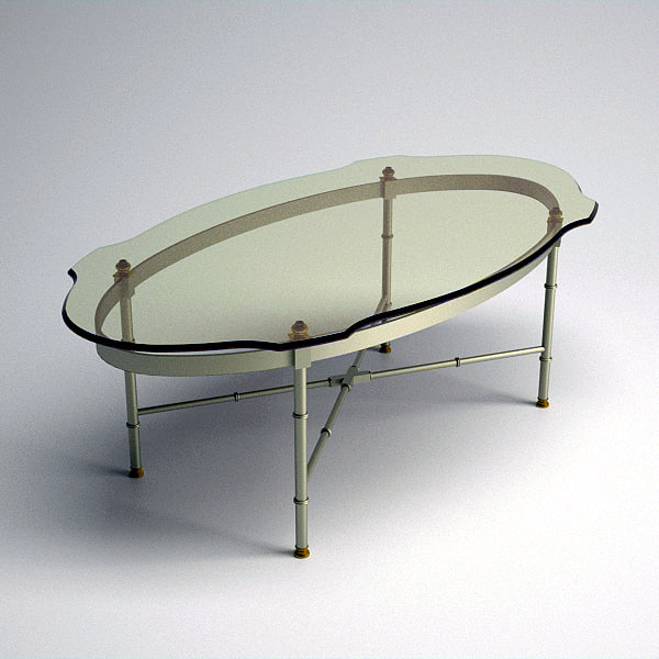 glass topped oval coffee table 3d model