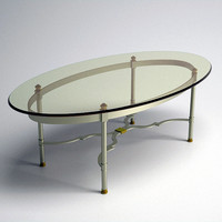 3d model glass topped oval coffee table