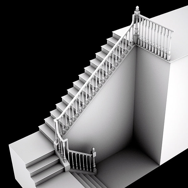 wooden staircase 3d 3ds