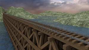 train trestle bridge environment 3d obj