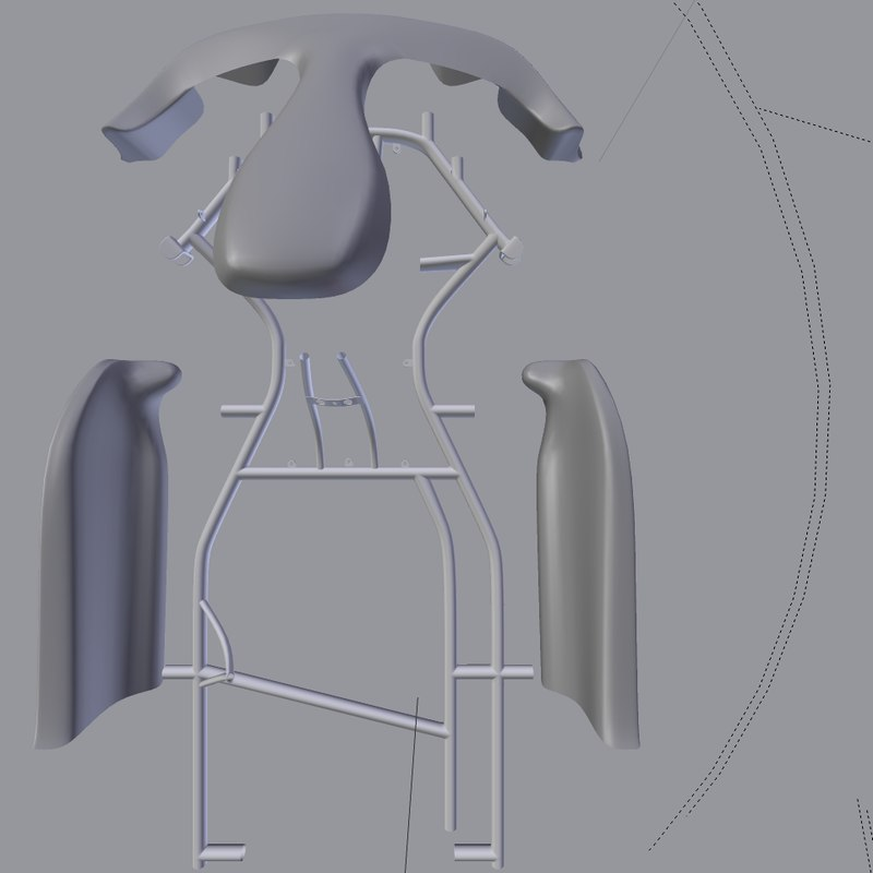 3d model racing kart chassis fairing