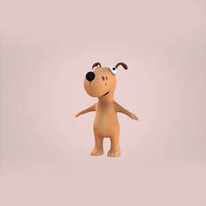3d model of dog cartoon