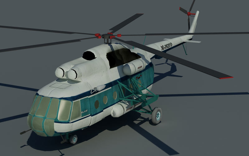 3d low-poly mi-8 helicopter