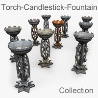 Fountain metal evil underground fire voodoo cult mystery creepy candlestick candleholder candelabra bone stone rock sect religion horror sharp torch prop detail low manor castle asset old dirt dirty vintage Fantasy saint