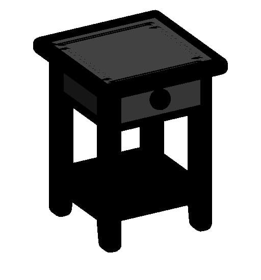 black bedside table 3d model