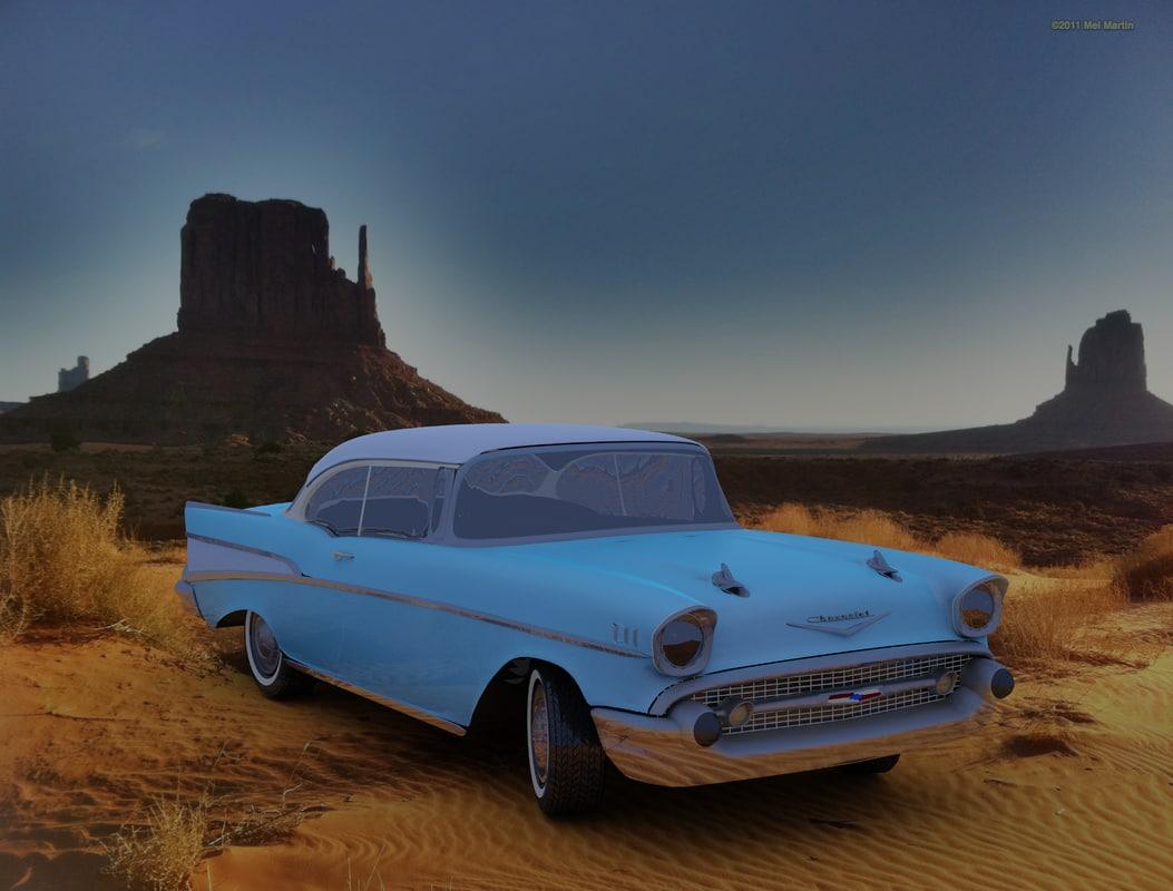3d 1957 chevrolet rigged model