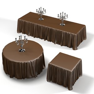 3d model dining table draped