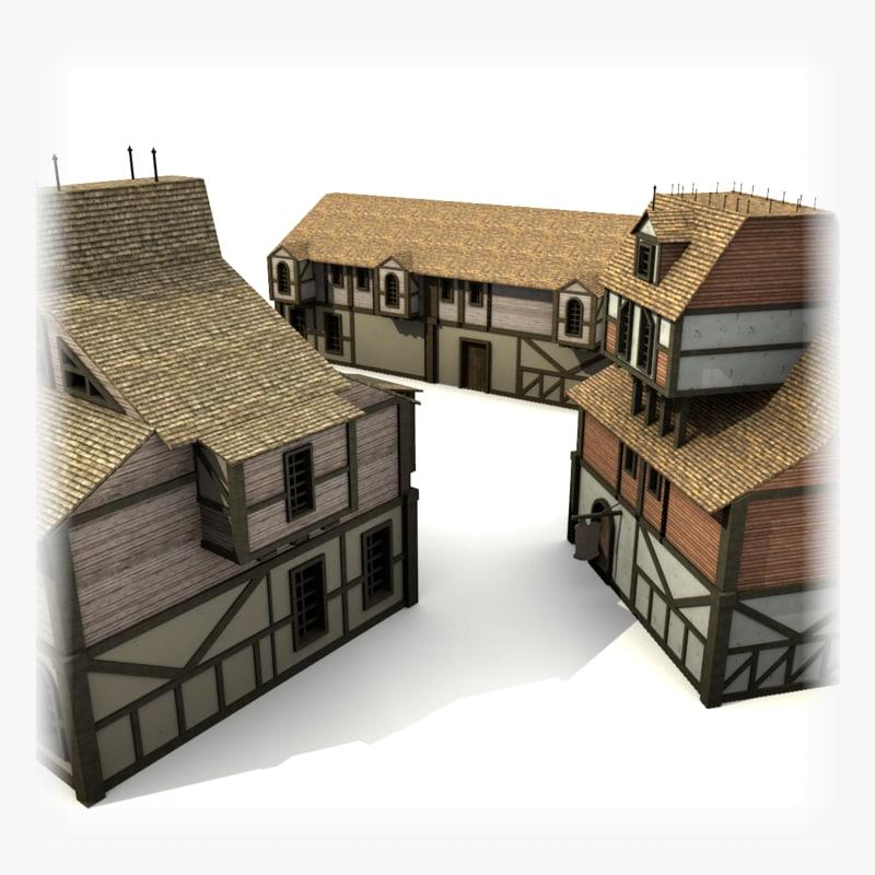 3dsmax medieval buildings pack 3