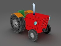 Cartoon tractor - low poly