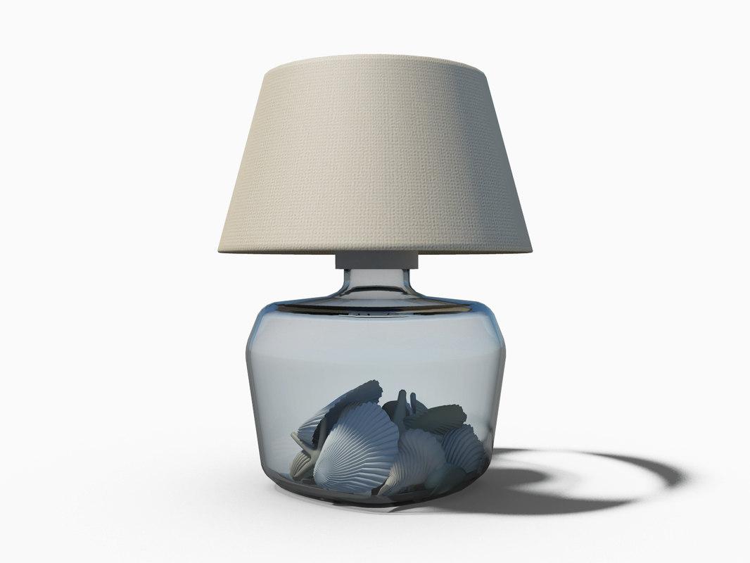3d lamp glass sea shells model