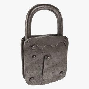 3d model of padlock lock pad