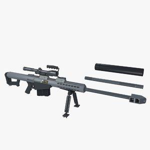 3d model barrett m82 sniper rifle