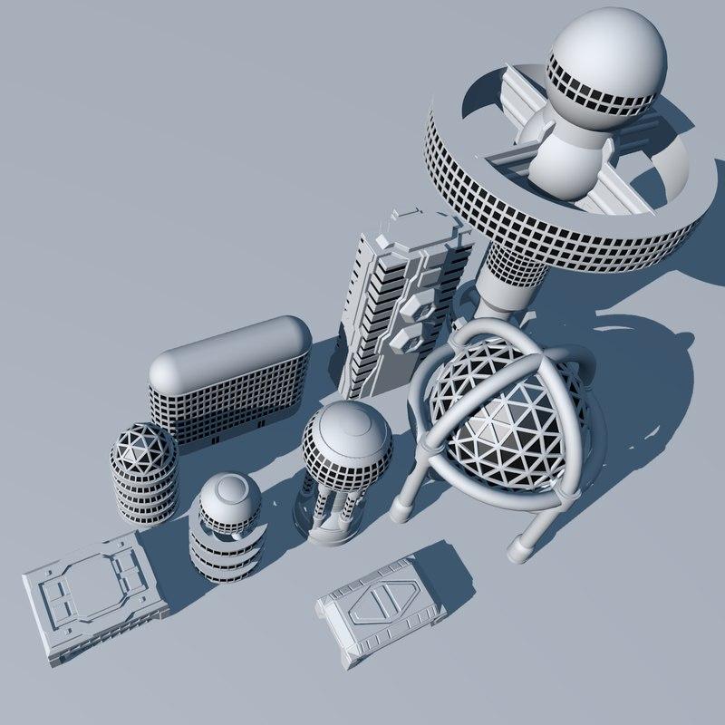 obj buildings scifi