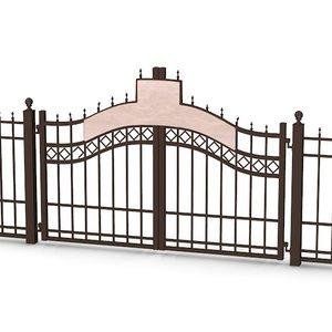 3d model old fence gate