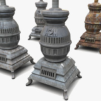 3d model stove old metal