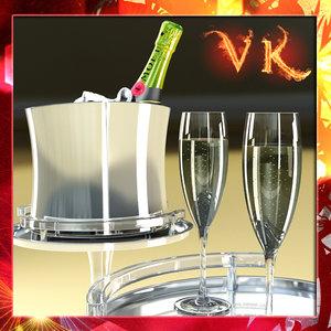 3d model champagne set - bottle