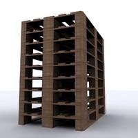 3d wood pallets model