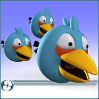 angry bird characters cartoon 3d model