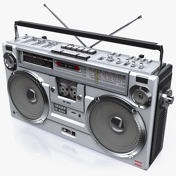 3d model of retro boombox sharp gf-9292