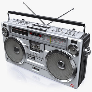 3d model of retro boombox sharp gf-9292