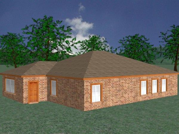 free small brick house 3d model