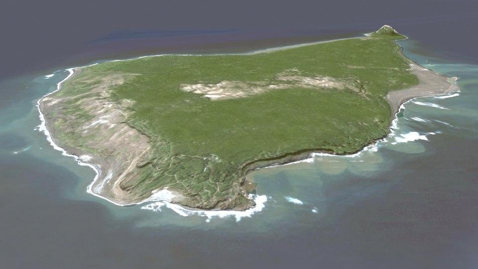3d iwo jima island model