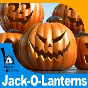 3d set jack-o-lanterns jack model