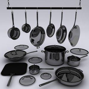 frying pans sauce 3d 3ds