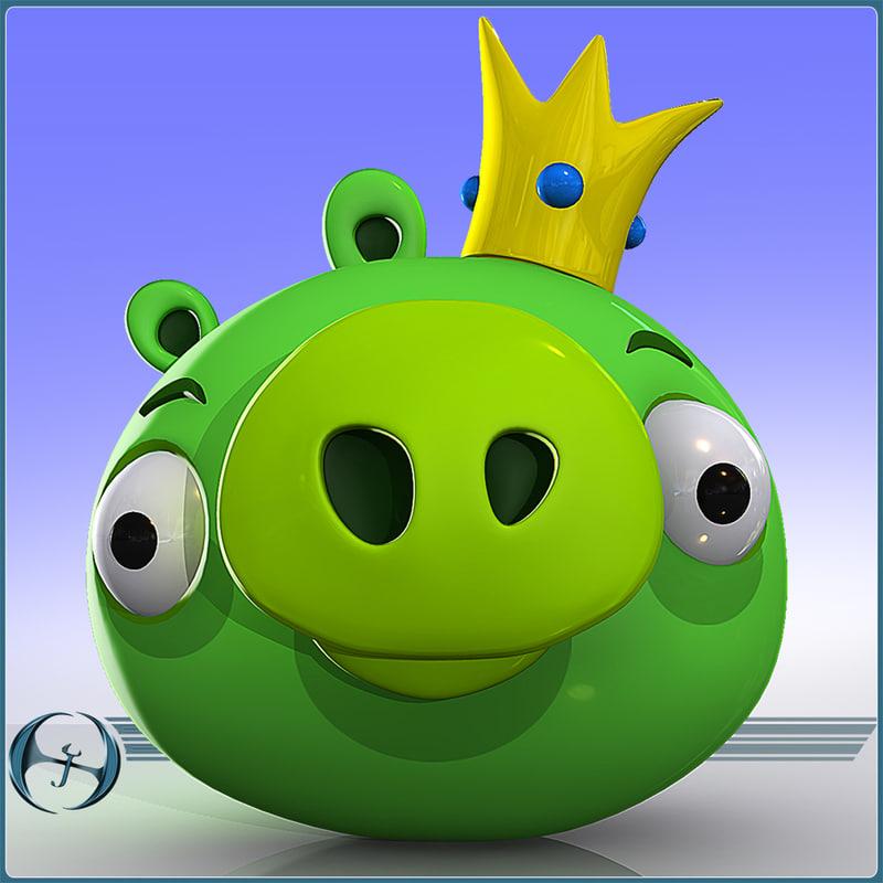 3d model angry pig king character cartoon
