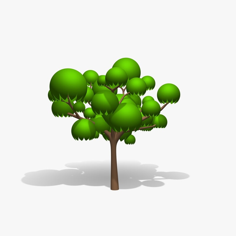 cartoon tree 3d model