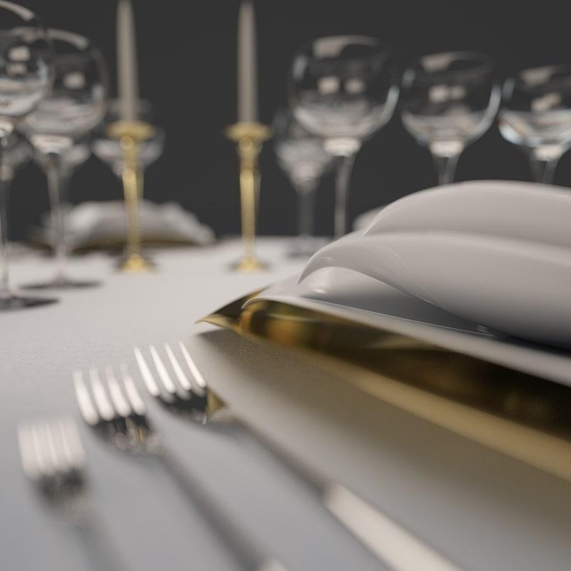 dinner table set 3d obj
