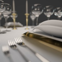 dinner table set 3d obj