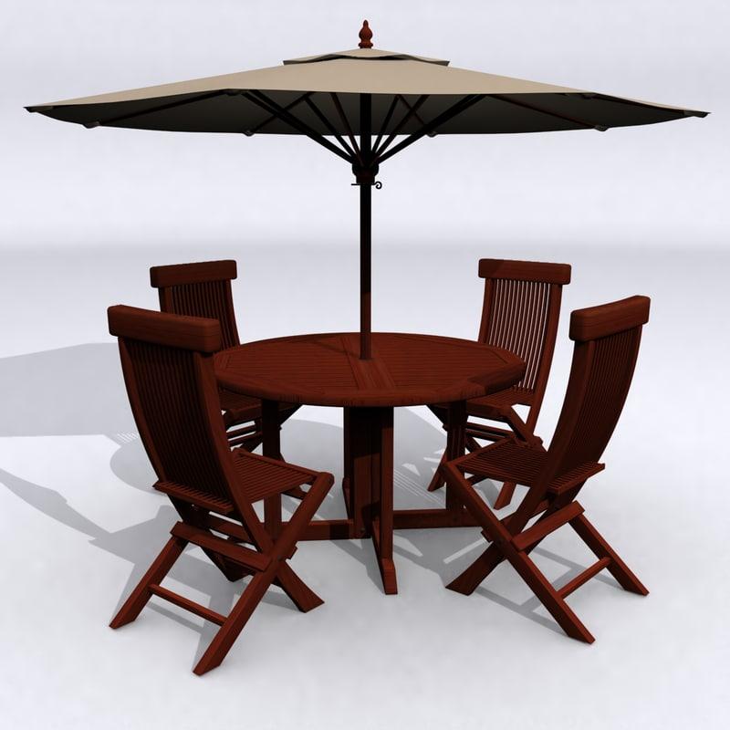 classic teak patio table set 3ds