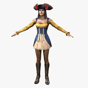female pirate woman 3d fbx