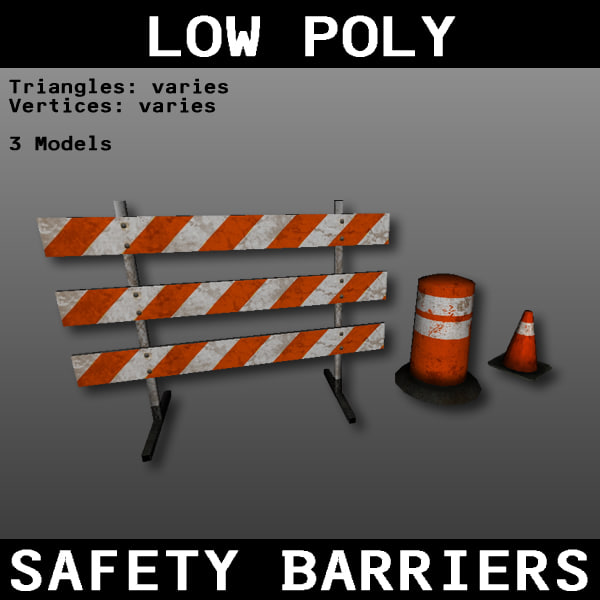 free safety barriers 3d model