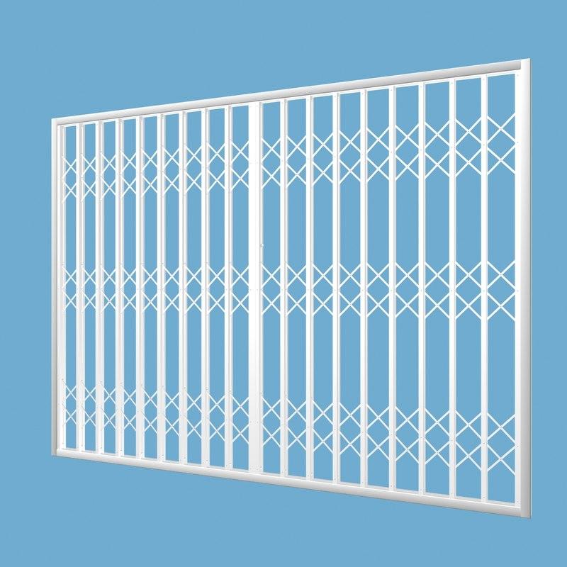 lattice retractable security gate 3d model